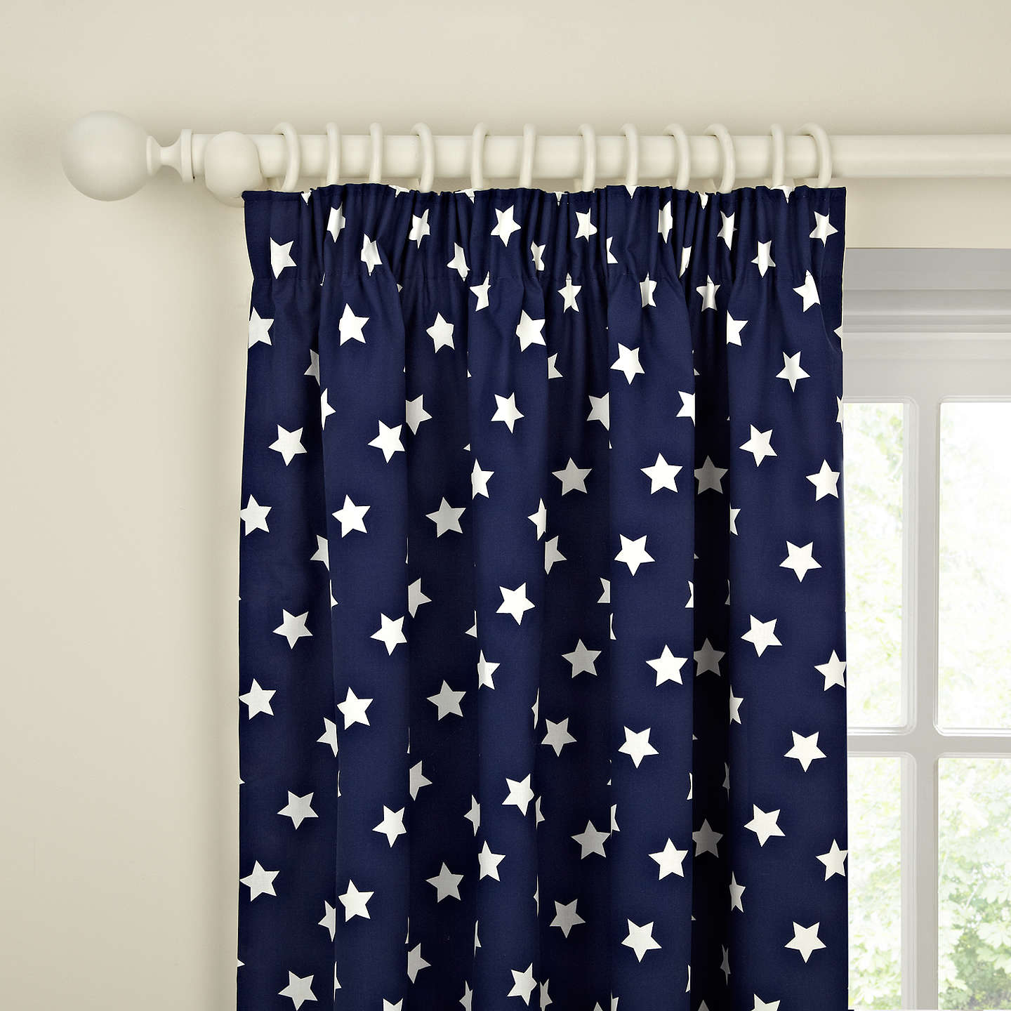 Buylittle home at John Lewis Glow in the Dark Star Pair Blackout Lined Pencil Pleat Curtains, Navy, W117 x Drop 136cm Online at johnlewis.com