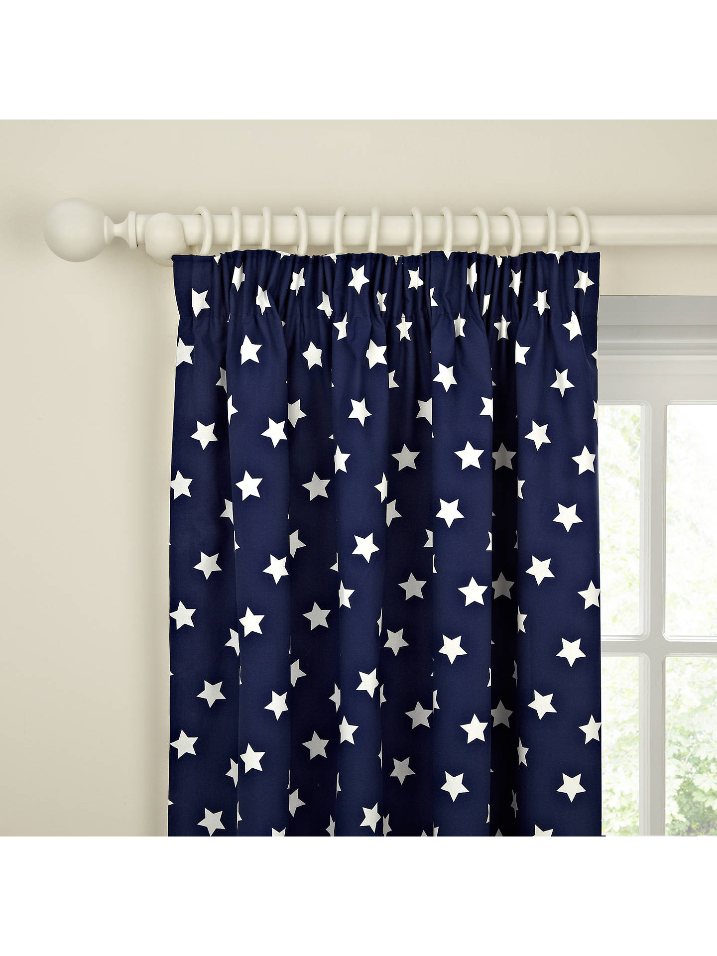 Buy little home at John Lewis Glow in the Dark Star Pair Blackout Lined Pencil Pleat Curtains, Navy, W117 x Drop 136cm Online at johnlewis.com