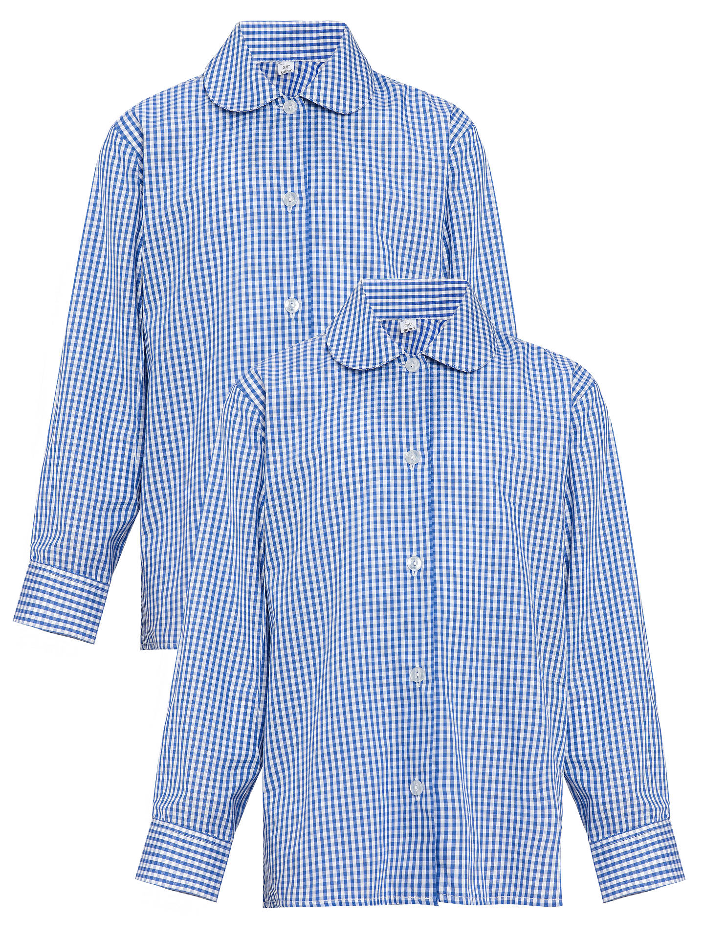 "BuyGirls' Long Sleeve Blouse, Pack of 2, Royal Blue/White, Chest 22"" Online at johnlewis.com"