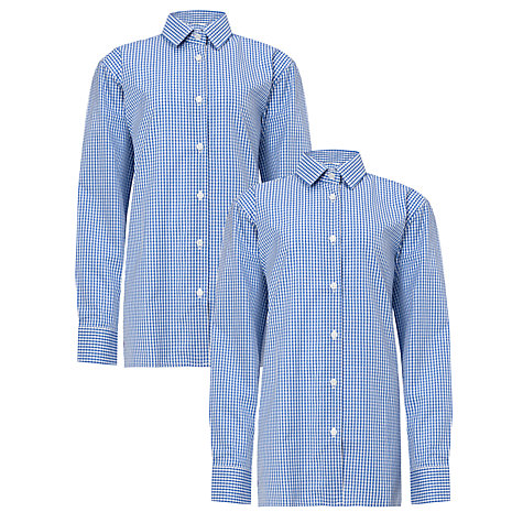 Buy Boys' Long Sleeve Shirt, Pack of 2, Royal Blue/White Online at johnlewis.com