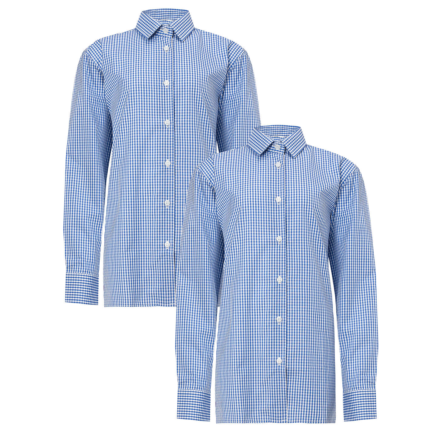 "BuyBoys' Long Sleeve Shirt, Pack of 2, Royal Blue/White, Collar 11"" Online at johnlewis.com"