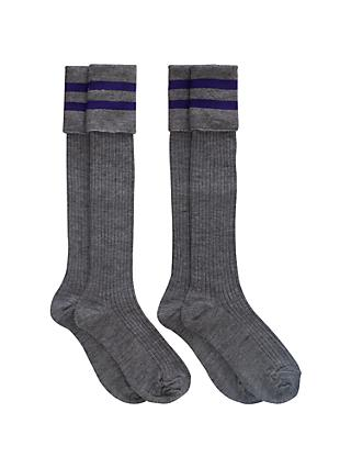 School Boys' Knee Length Socks, Pack of 2, Grey/Purple
