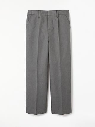 John Lewis & Partners Boys' Pure Cotton Adjustable Waist Straight Leg School Trousers