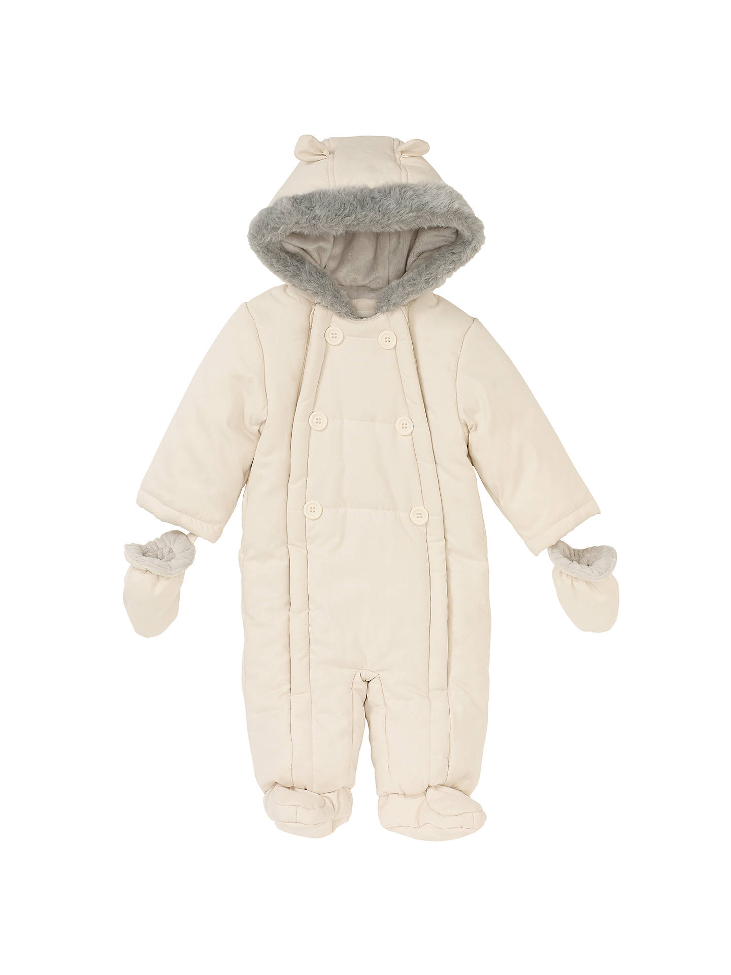 Buy John Lewis & Partners Baby Wadded Snowsuit, Off White, Newborn Online at johnlewis.com