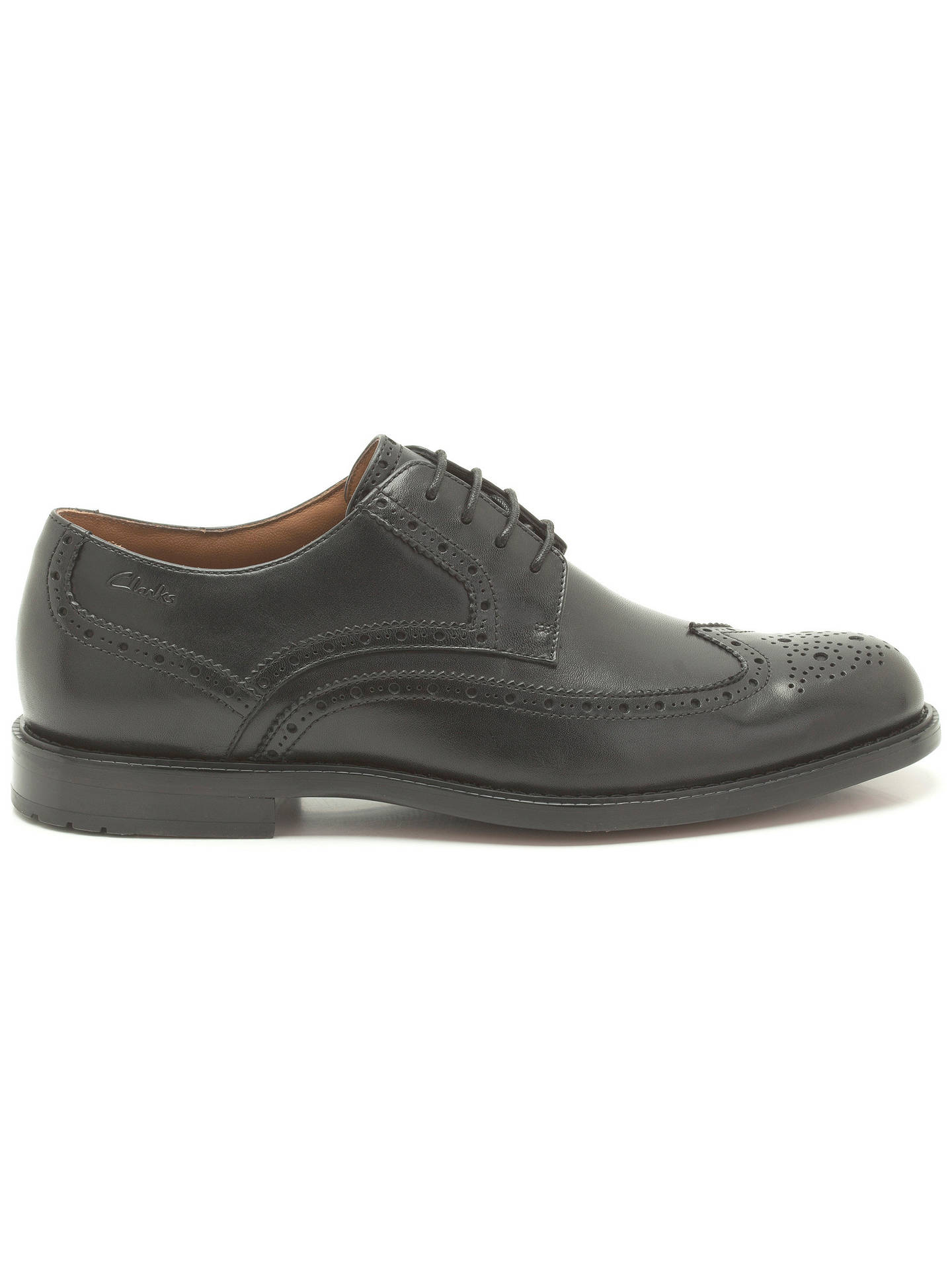 f3c9b1831b891 Clarks Dorset Limit Leather Brogue Derby Shoes, Black at John Lewis ...
