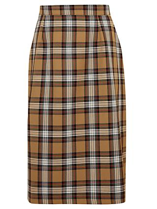 St Joseph's College Girls' Tartan Skirt, Brown/Multi