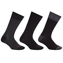 Buy John Lewis Bamboo and Cotton Pattern Socks, Pack of 3, Black/Grey Online at johnlewis.com