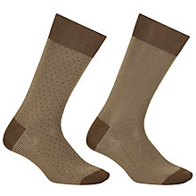 Buy John Lewis Birdseye Egyptian Cotton Socks, Pack of 2, Brown Online at johnlewis.com