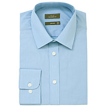 Buy John Lewis Fine Stripe XL Sleeve Tailored Fit Shirt, Blue Online at johnlewis.com
