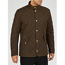 Buy Barbour Waxed Quilted Funnel Neck Jacket, Olive Online at johnlewis.com
