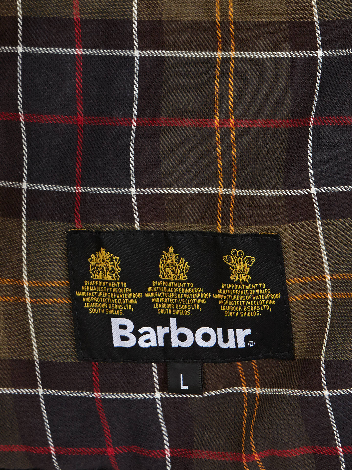 Buy Barbour Waxed Quilted Funnel Neck Jacket, Olive, XL Online at johnlewis.com