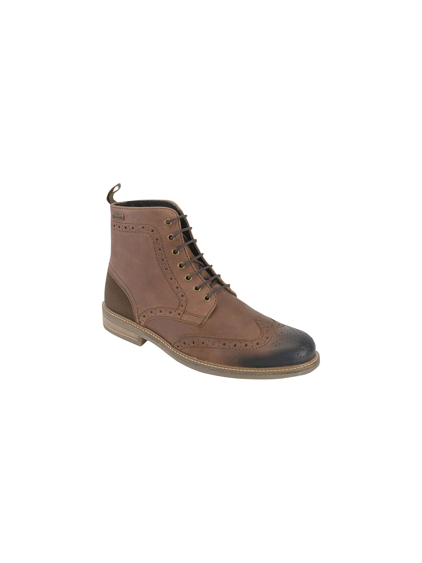 8c1e36a9eeb Barbour Belsay Leather Brogue Boots, Dark Tan at John Lewis & Partners