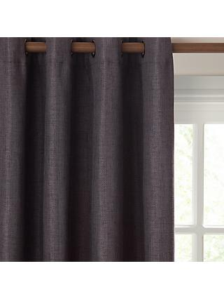 John Lewis & Partners Pair Textured Weave Lined Eyelet Curtains