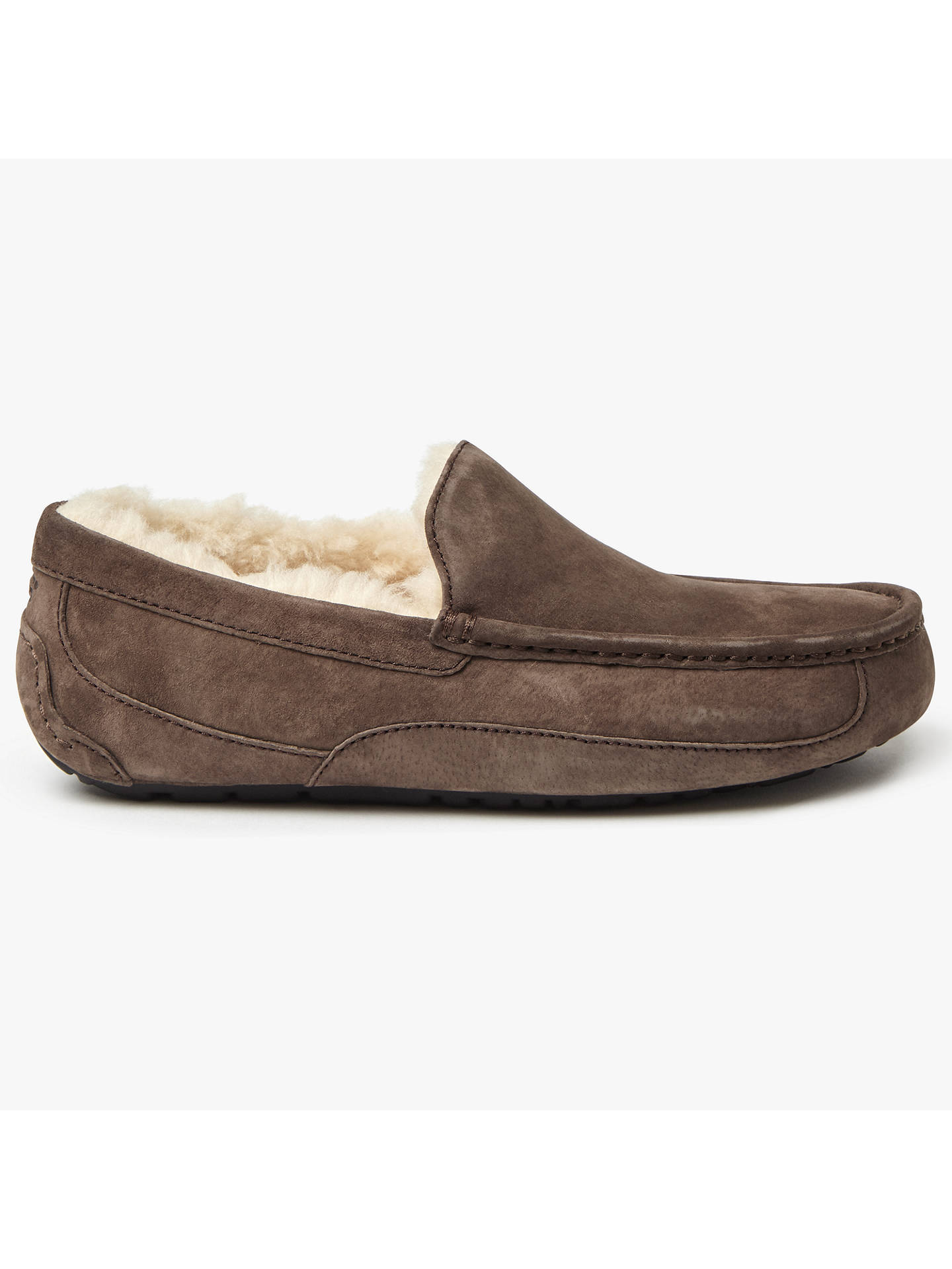 Buy UGG Ascot Moccasin Suede Slippers, Espresso, 7 Online at johnlewis.com