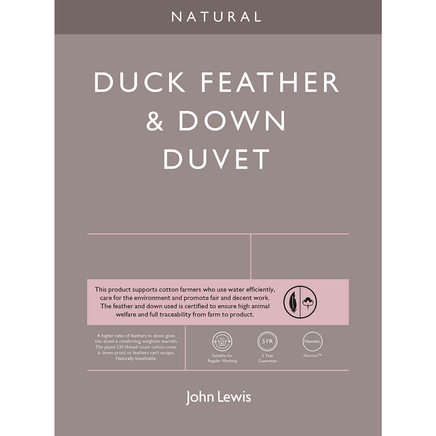 BuyJohn Lewis Natural Duck Feather and Down Duvet, 10.5 Tog, Single Online at johnlewis.com