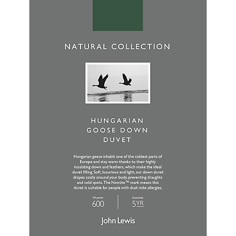 Buy John Lewis Natural Collection Hungarian Goose Down Duvet, 10.5 Tog Online at johnlewis.com