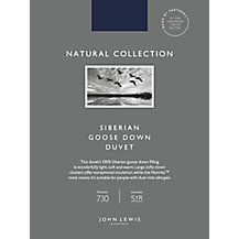 John Lewis Natural Collection Siberian Goose Down Bedding
