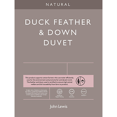 Buy John Lewis Natural Duck Feather and Down Duvet, 4.5 Tog Online at johnlewis.com