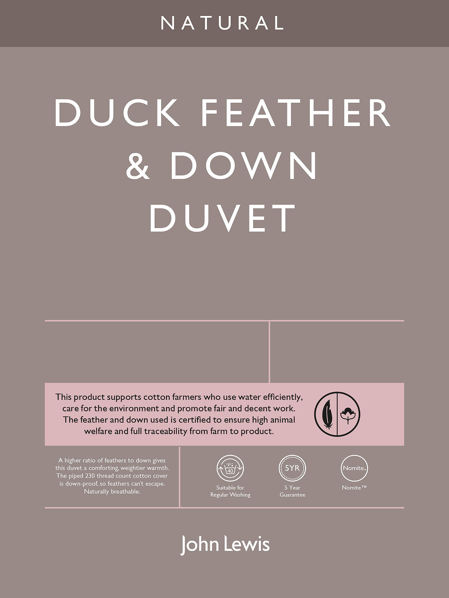 BuyJohn Lewis & Partners Natural Duck Feather and Down Duvet, 4.5 Tog, Single Online at johnlewis.com