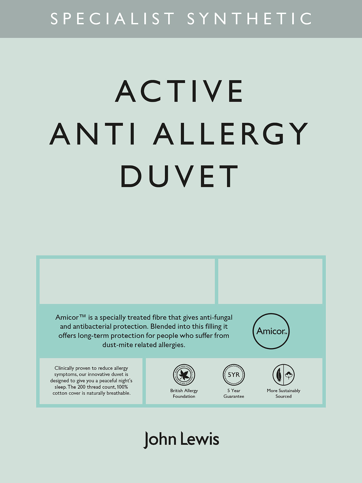 BuyJohn Lewis & Partners Specialist Synthetic Active Anti Allergy Duvet, 2.5 Tog, Double Online at johnlewis.com