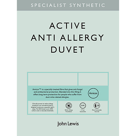 Buy John Lewis Specialist Synthetic Active Anti Allergy Duvet, 4.5 Tog Online at johnlewis.com