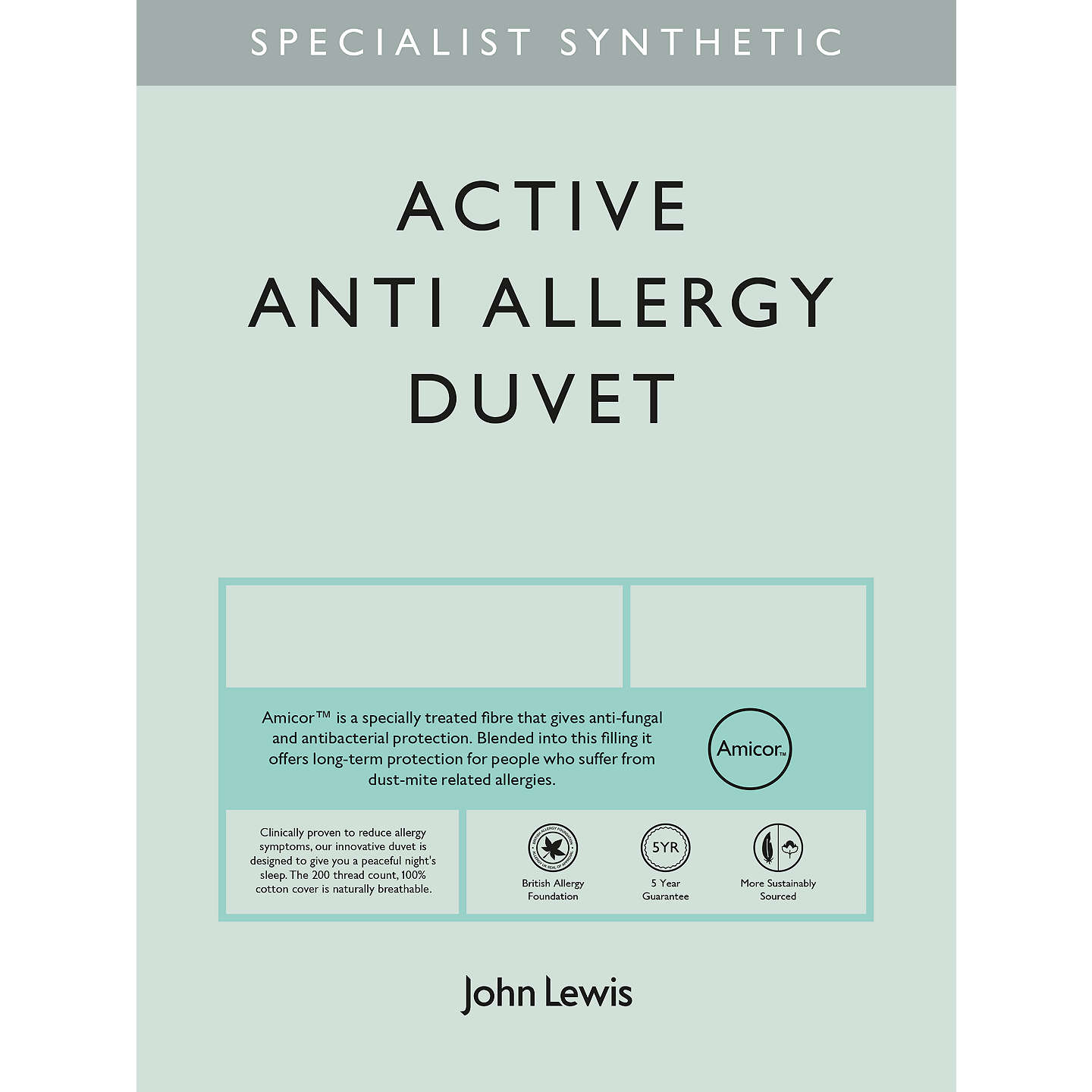 BuyJohn Lewis Specialist Synthetic Active Anti Allergy Duvet, 7 Tog, King Online at johnlewis.com