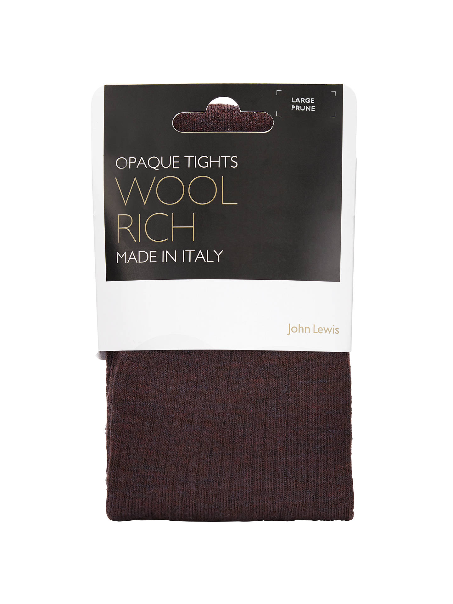 Buy John Lewis Wool Ribbed Opaque Tights, Prune, M Online at johnlewis.com