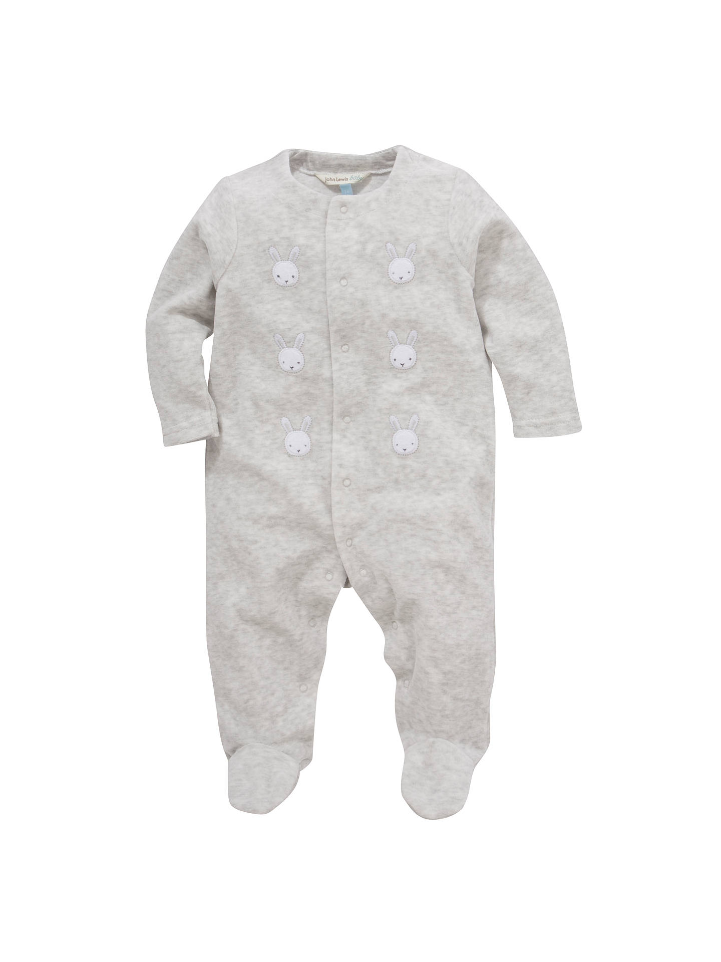 BuyJohn Lewis & Partners Baby Bunny Velour Sleepsuit, Grey, Tiny baby Online at johnlewis.com