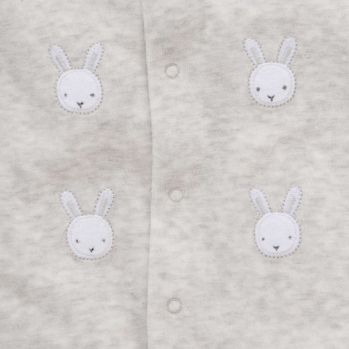 BuyJohn Lewis Baby Bunny Velour Sleepsuit, Grey, Tiny baby Online at johnlewis.com