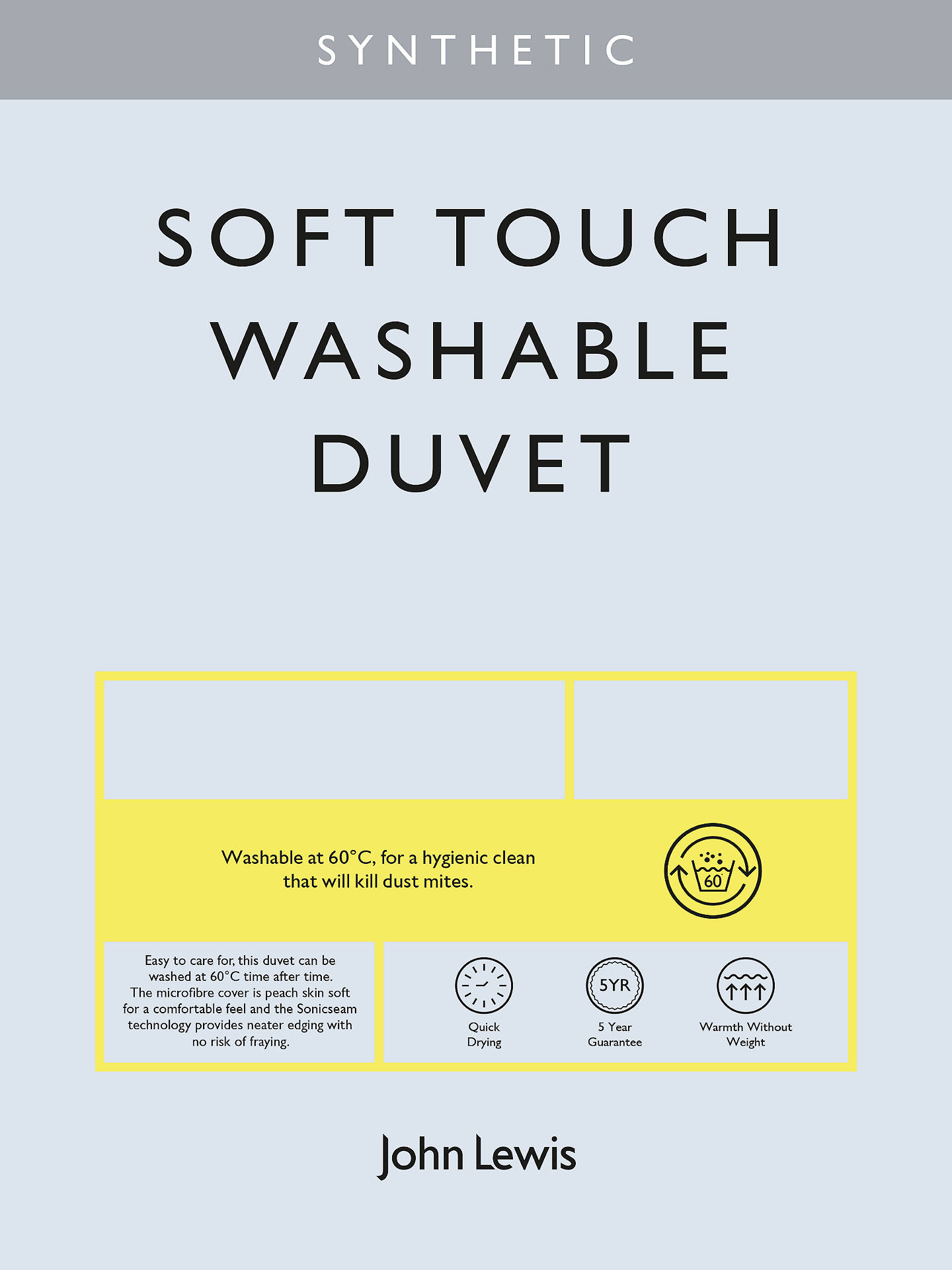 BuyJohn Lewis & Partners Synthetic Soft Touch Washable Duvet, 13.5 Tog (4.5 + 9 Tog) All Seasons, Single Online at johnlewis.com