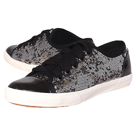 Buy KG by Kurt Geiger Lucca Plimsolls, Black/Silver Online at johnlewis.com