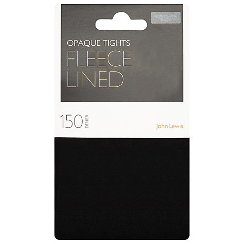 Buy John Lewis 150 Denier Polar Fleece Opaque Tights, Black Online at johnlewis.com