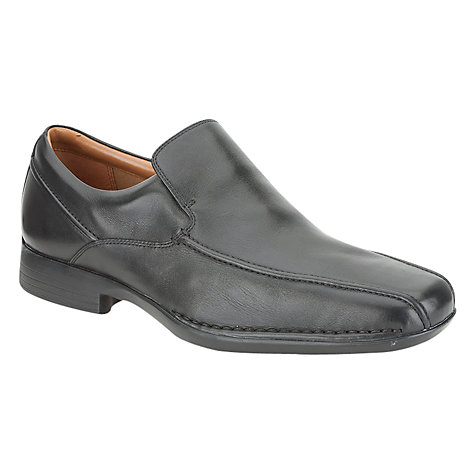 Buy Clarks Francis Flight Leather Slip-On Shoes, Black Online at johnlewis.com
