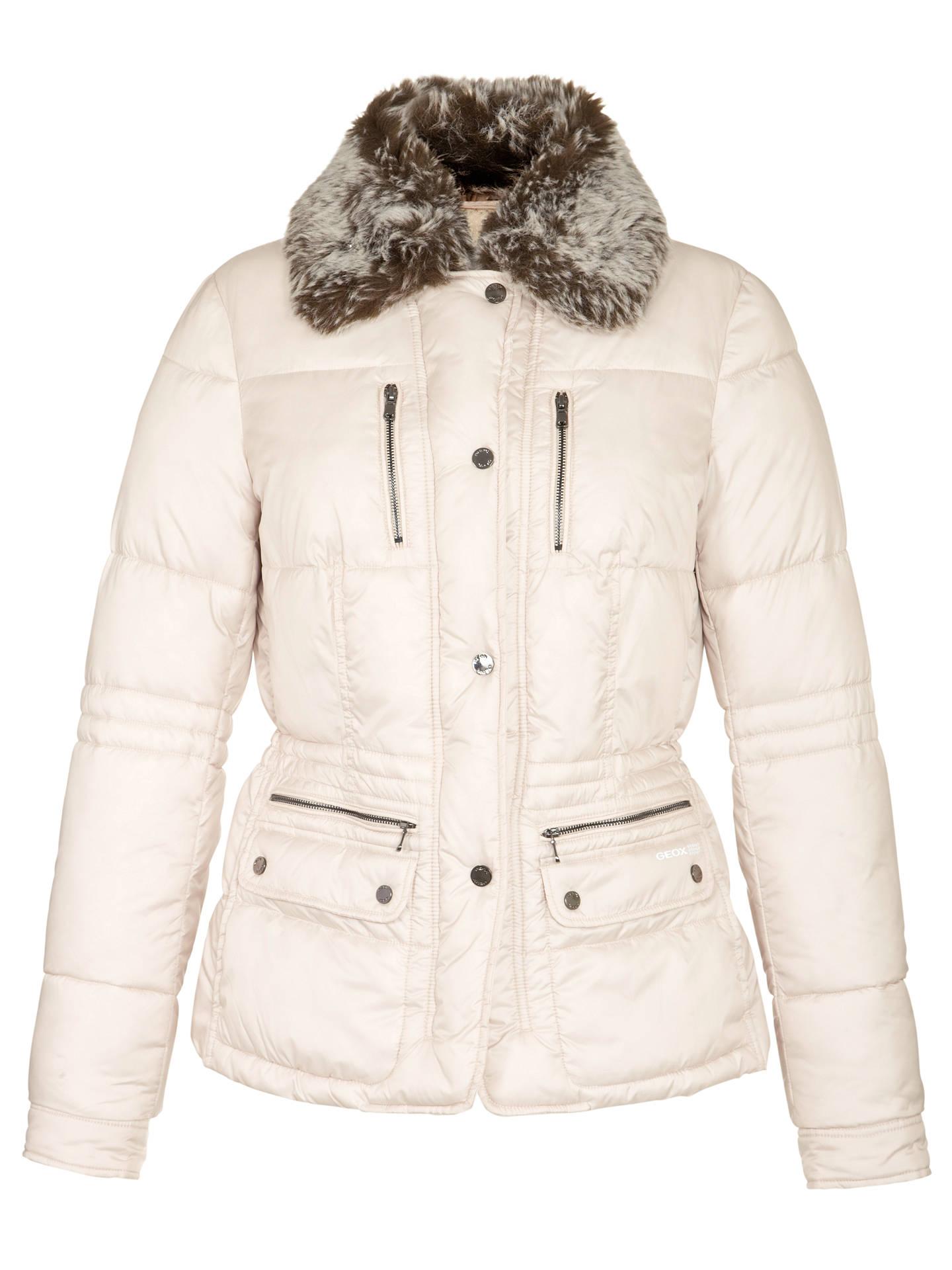 Chiedere informazioni accoppiatore se puoi  Geox Faux Fur Collar Short Jacket, Midnight Sand at John Lewis & Partners