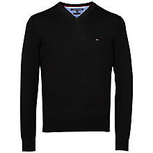 Buy Tommy Hilfiger Pacific V-Neck Cotton Jumper, New Black Online at johnlewis.com