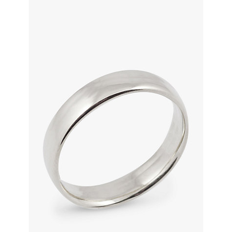 Buy EWA 18ct White Gold 5mm Larger Sized Court Wedding Ring, White Gold Online at johnlewis.com