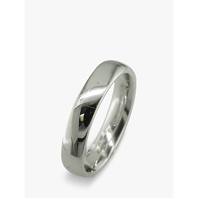 Image of EWA 18ct White Gold 4mm Larger Sized Court Wedding Ring, White Gold