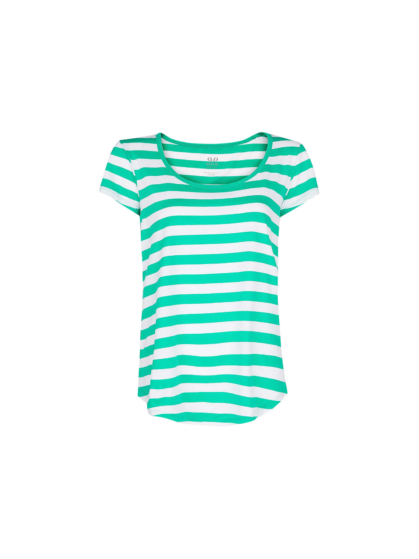 Buy Mango Stripe Cotton T-Shirt, Medium Green, L Online at johnlewis.com