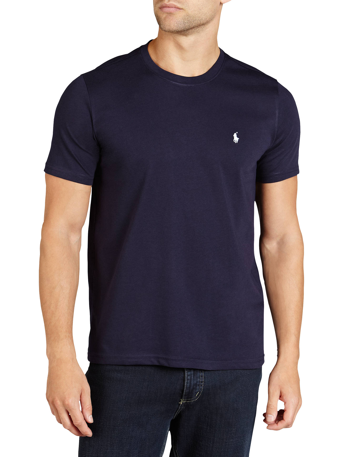 30a95c45b Buy Polo Ralph Lauren Crew Neck Lounge T-Shirt, Navy, M Online at ...
