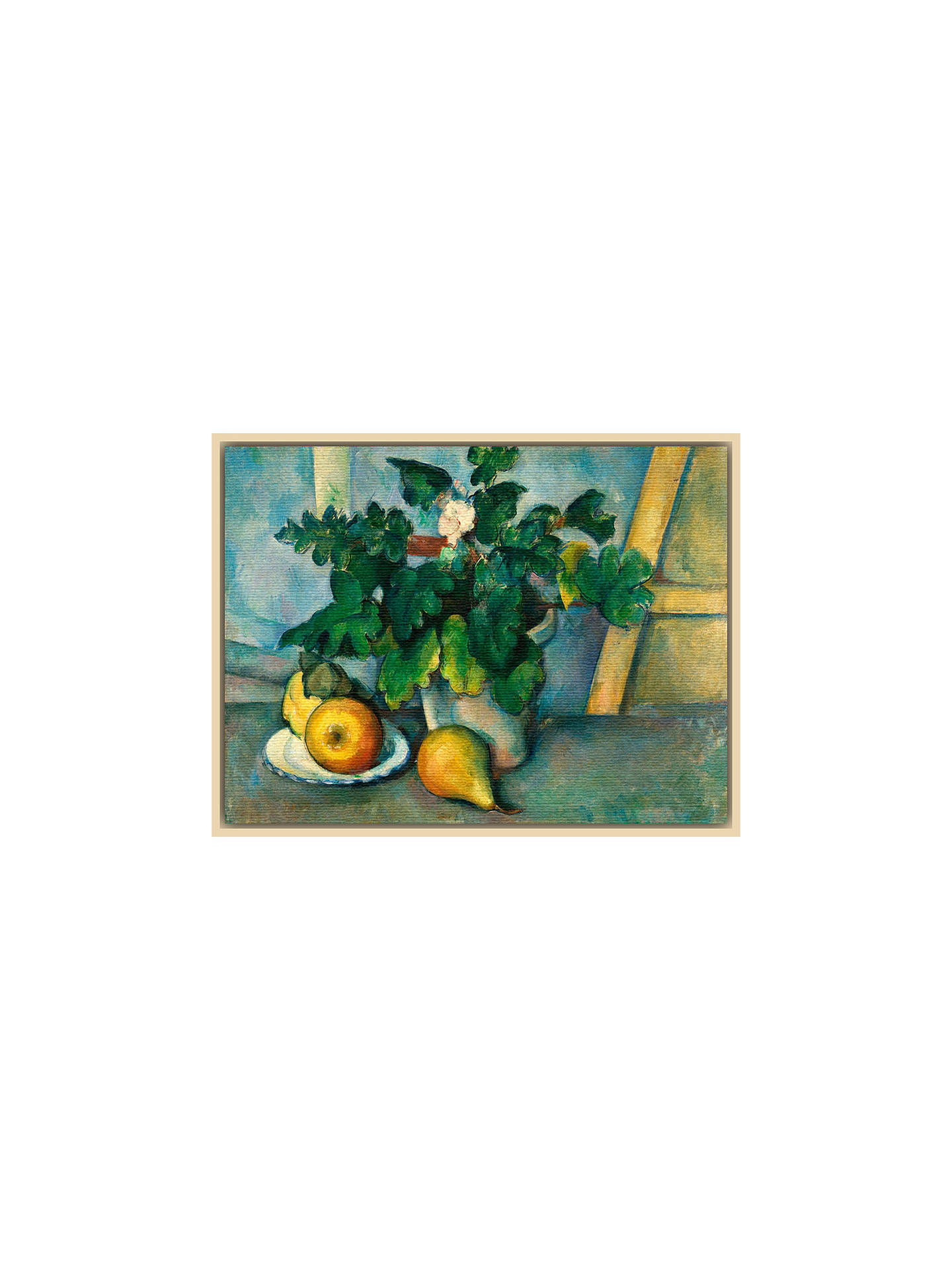 Buy The Courtauld Gallery, Paul Cézanne - Pot of Primroses and Fruit 1888-1890 Print, Natural Ash Framed Canvas, 40 x 50cm Online at johnlewis.com