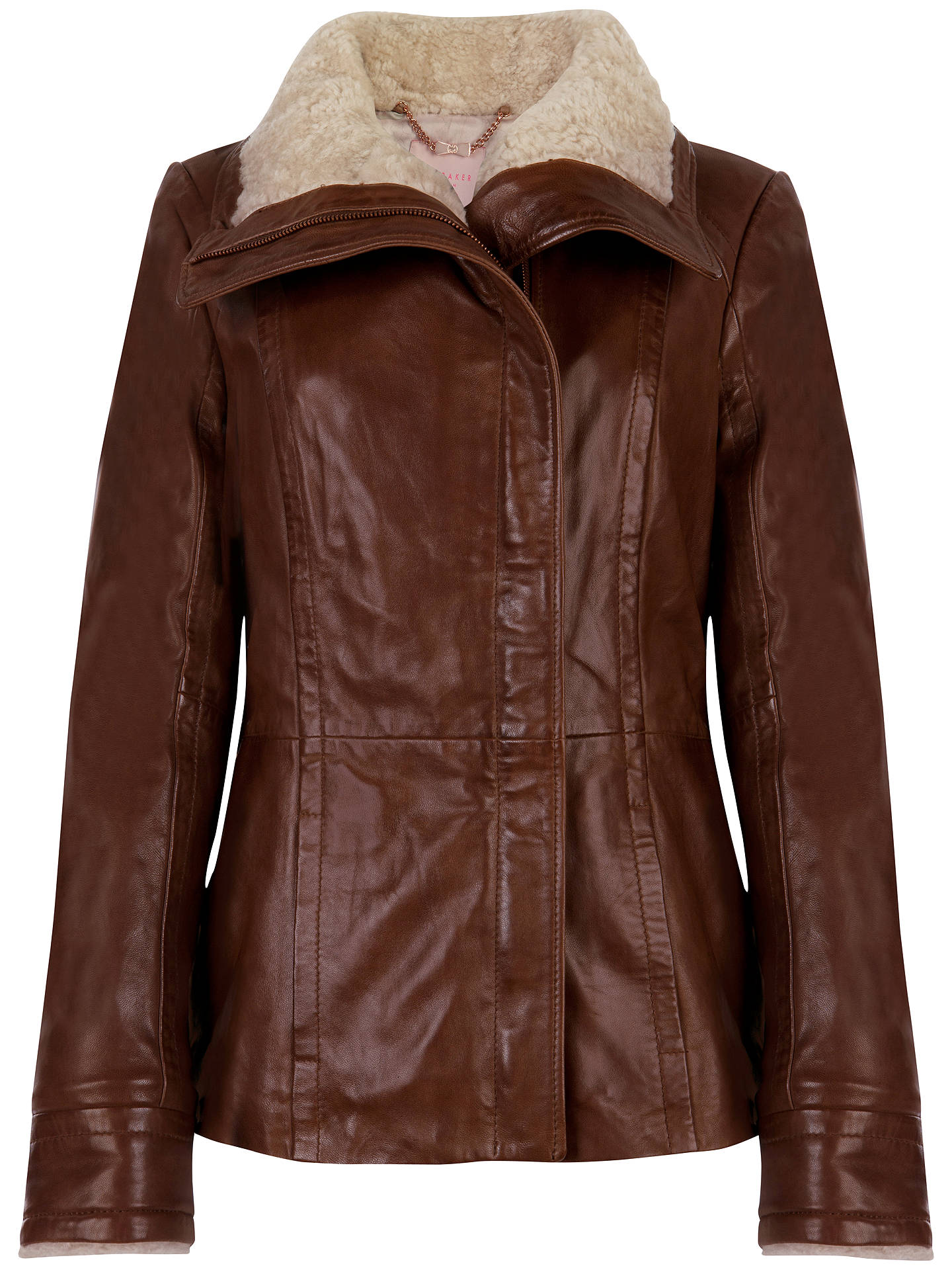 Watch Mrs Browns Boys Christmas 2020 0online Free Ted Baker Amilia Shearling Leather Jacket, Brown at John Lewis
