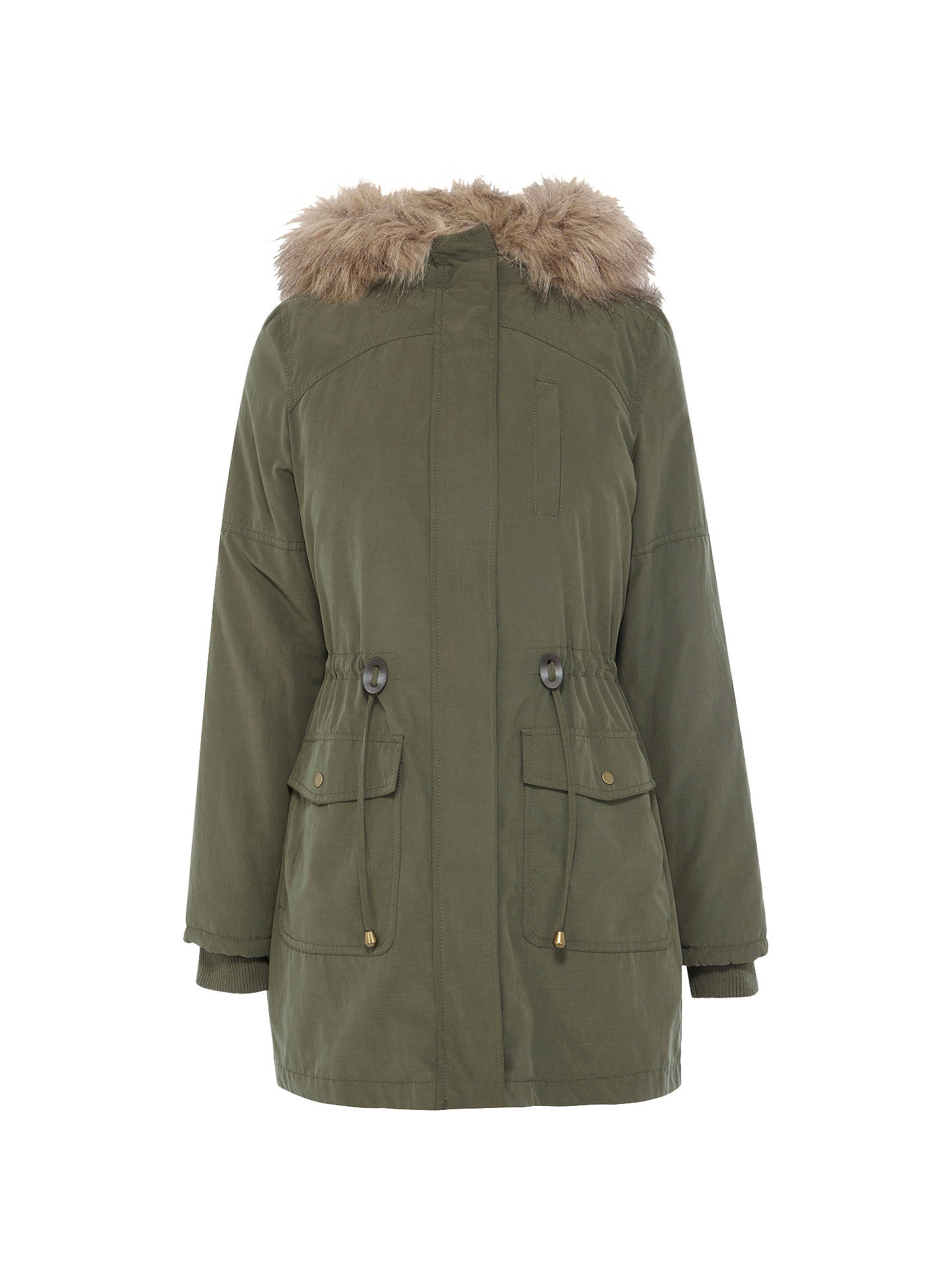 effdbb908516 Buy Oasis Ellie Faux Fur Lined Parka, Khaki, L Online at johnlewis.com ...