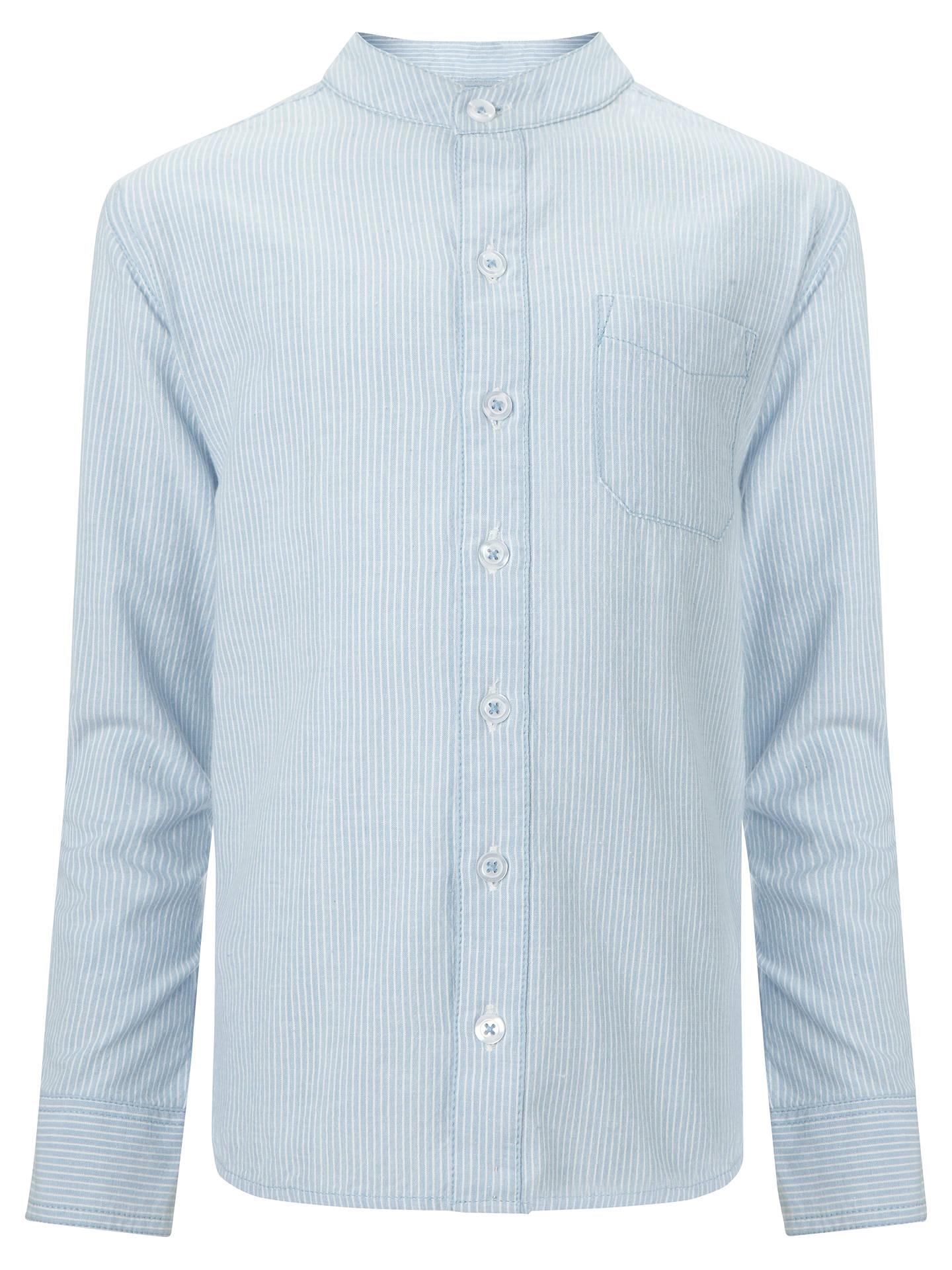 John Lewis Heirloom Collection Boys Nehru Collar Shirt Bluewhite