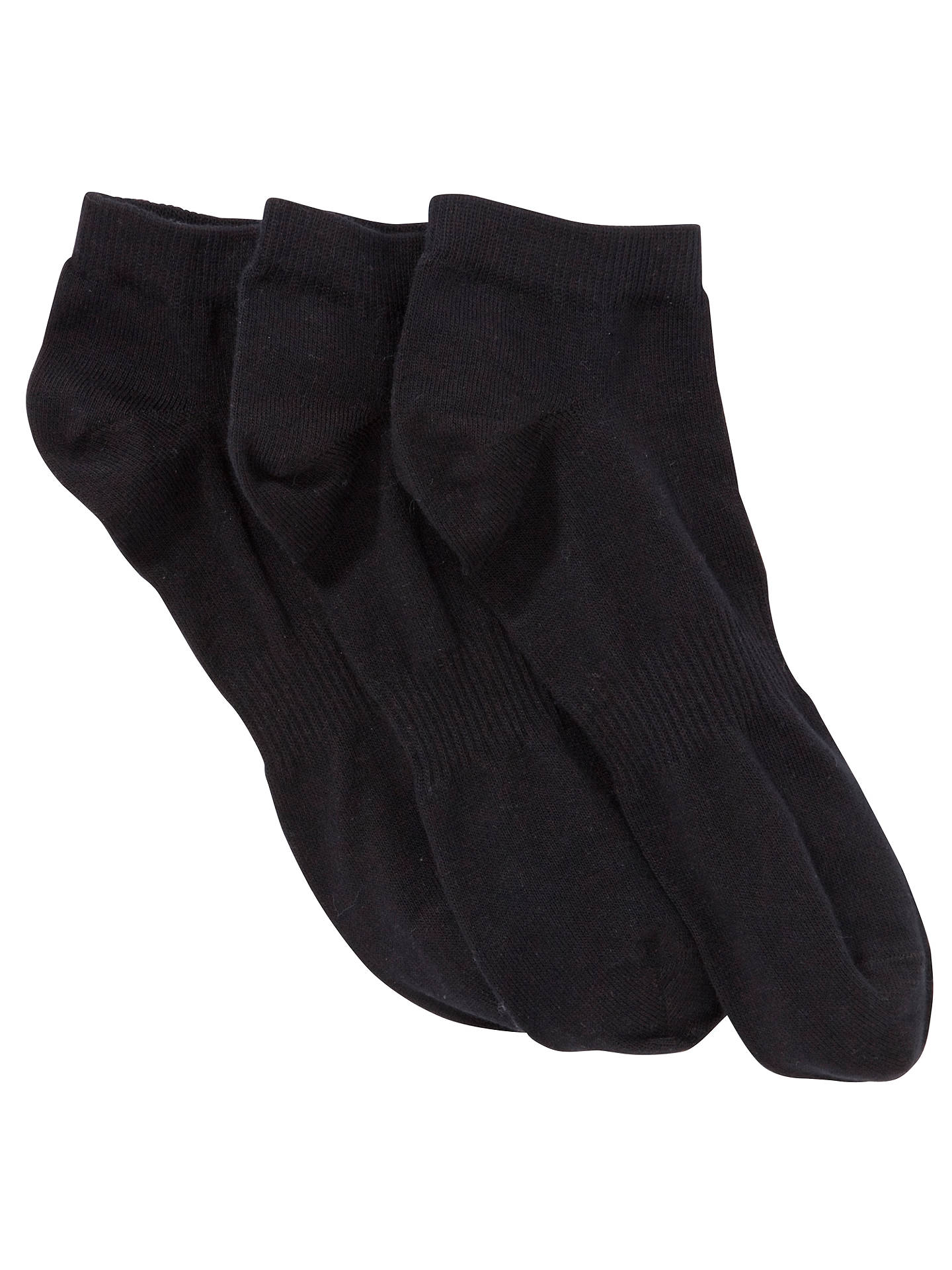 BuyJohn Lewis & Partners Cotton Trainer Socks, Pack of 3, Black, S Online at johnlewis.com