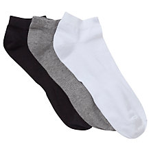 Buy John Lewis Liner Socks, Pack of 3, Black/Grey/White Online at johnlewis.com