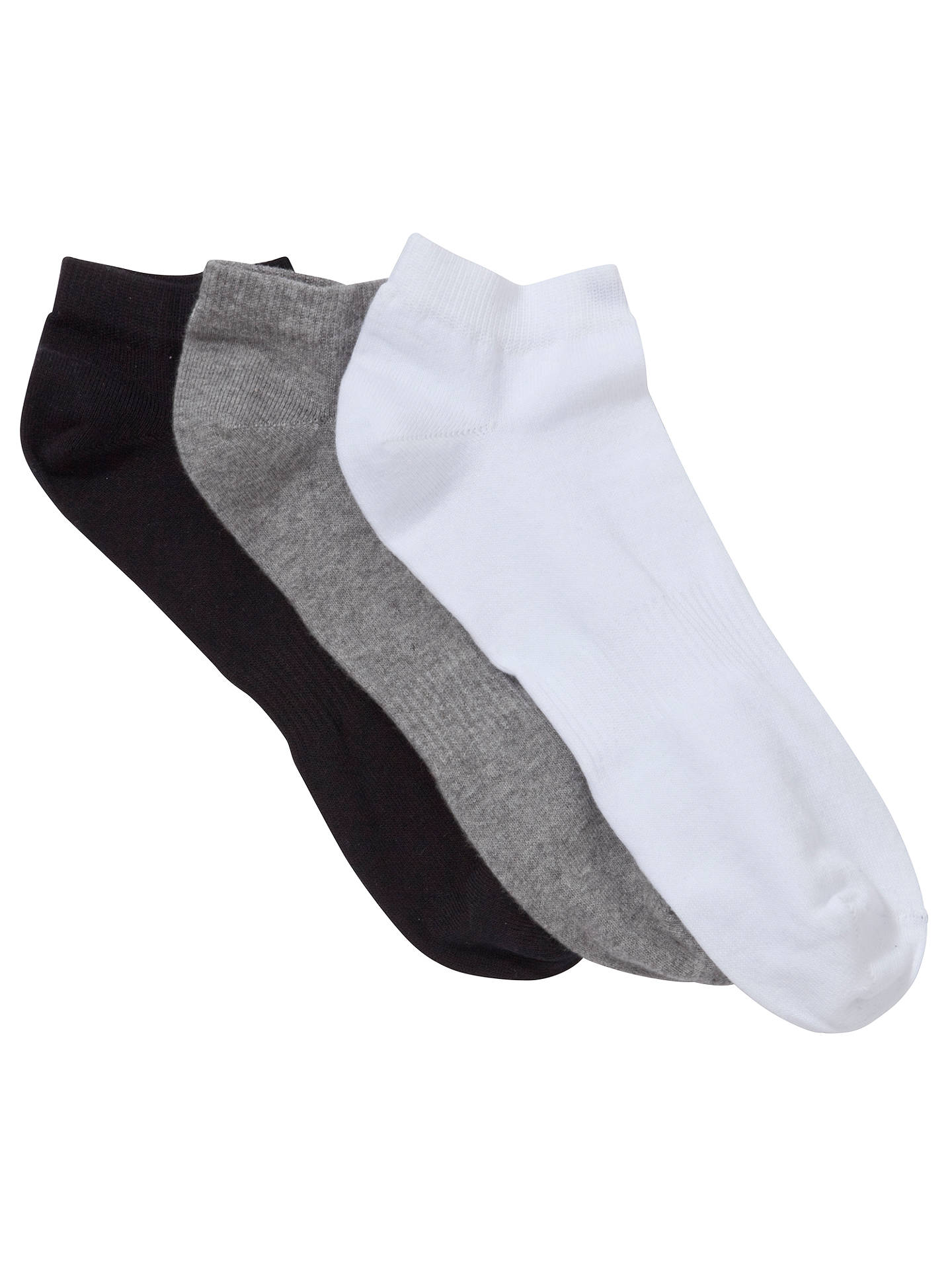 BuyJohn Lewis & Partners Liner Socks, Pack of 3, Black/Grey/White, 3-5.5 Online at johnlewis.com
