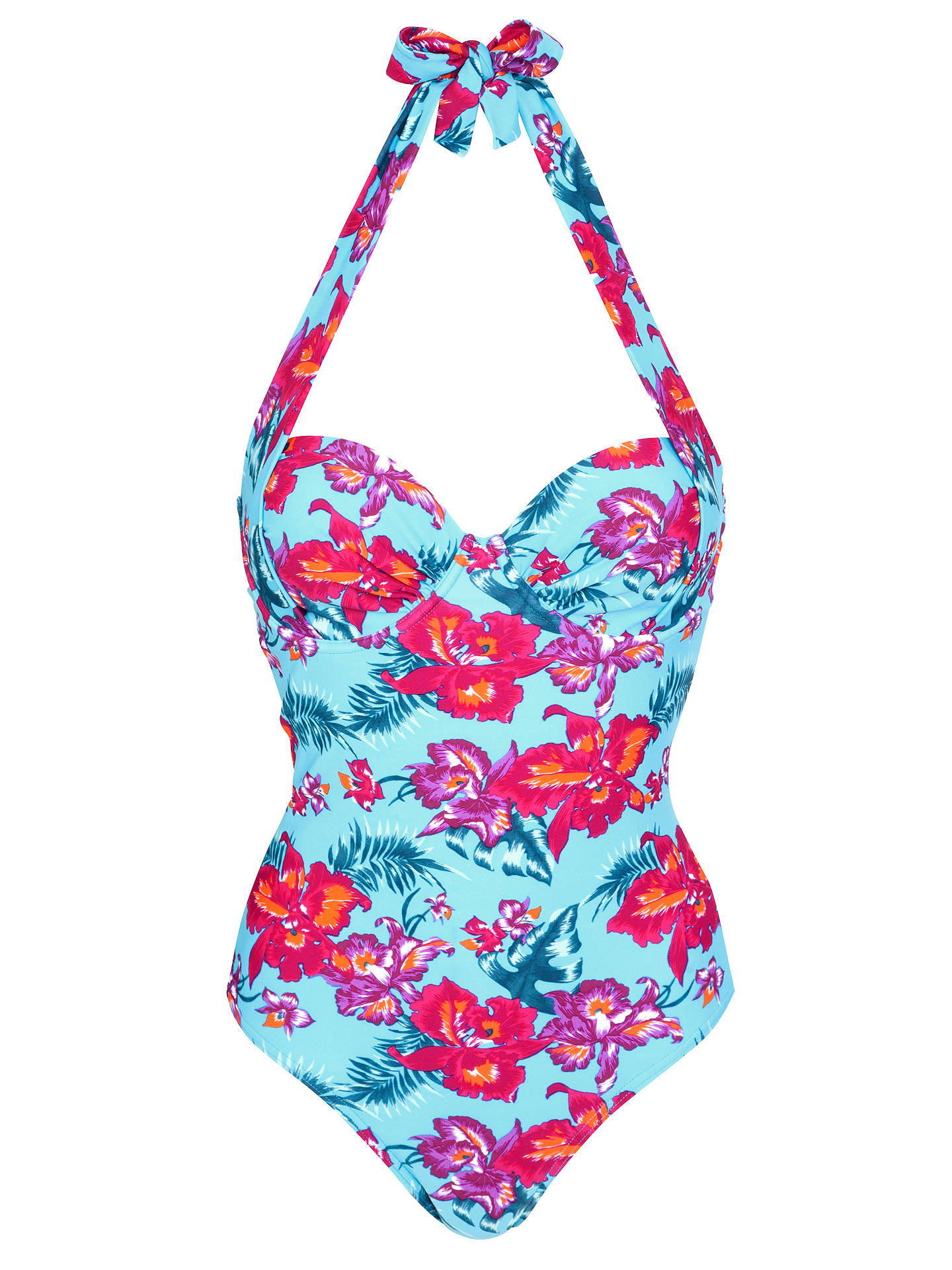 Buy John Lewis Orchid Underwired Control Swimsuit, Blue Floral, 32B Online at johnlewis.com