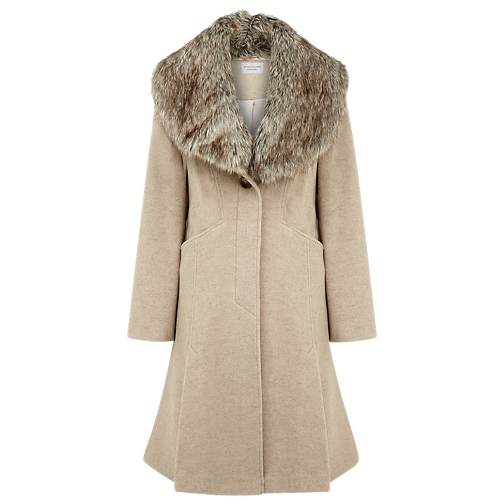 Buy Kaliko Faux Fur Collar Classic Coat, Neutral, 8 Online at johnlewis.com