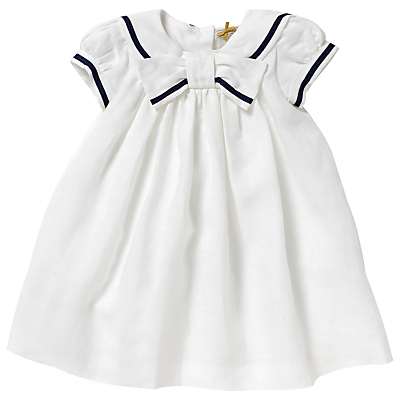 Vintage Style Children's Clothing: Girls, Boys, Baby, Toddler John Lewis Linen Sailor Christening Dress White £35.00 AT vintagedancer.com