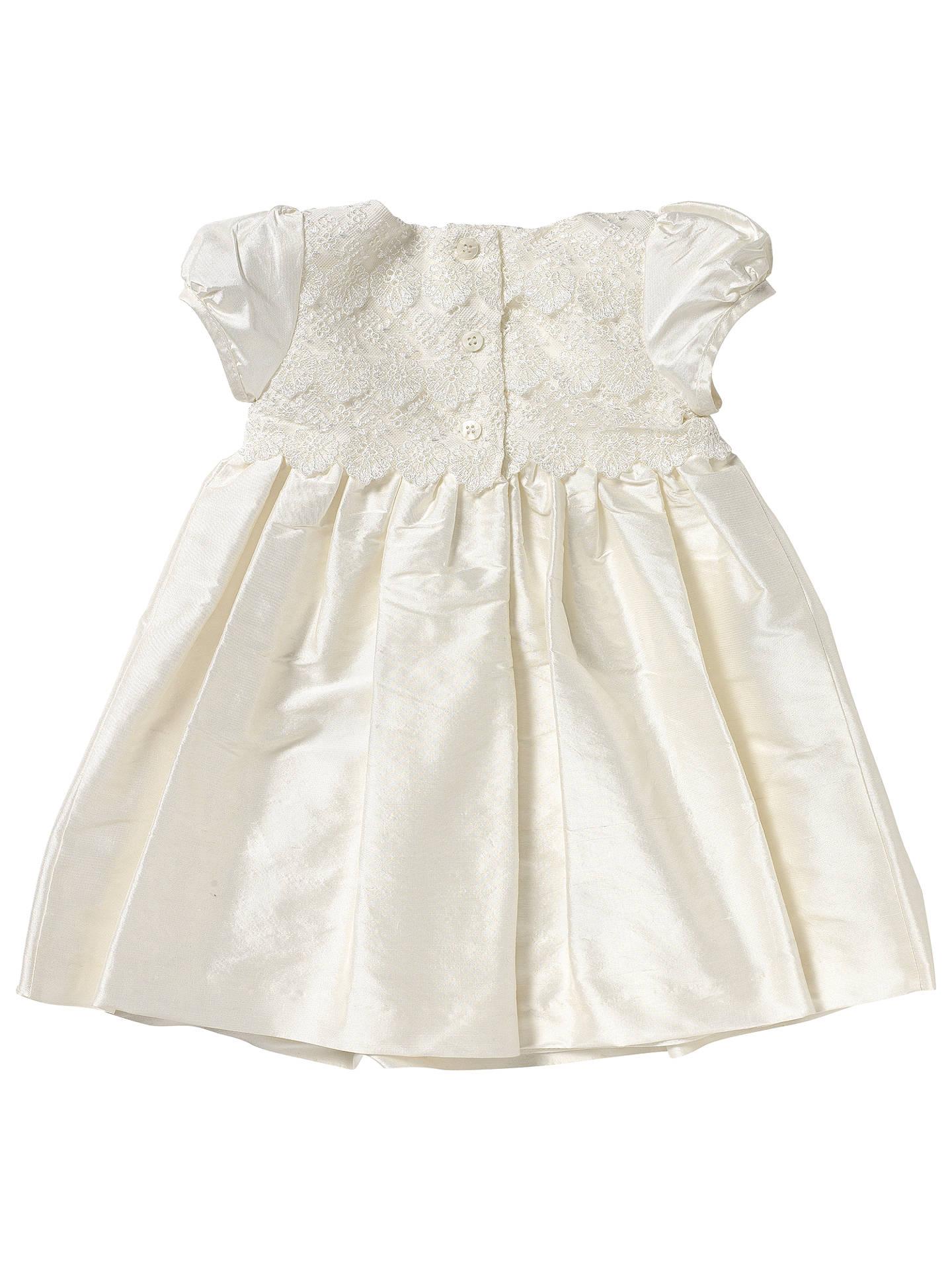 baf47c06d ... Buy John Lewis Baby Lace Silk Christening Dress, Cream, 0-3 months  Online ...